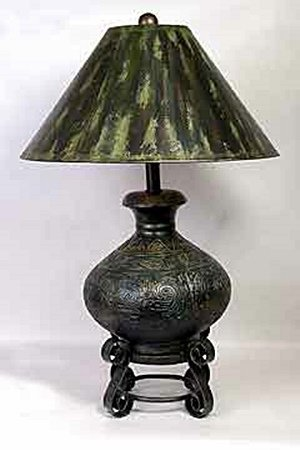 Dk Green Lamp w/Painted Shade (50683)