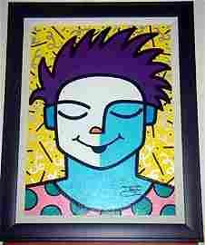 Jozza Framed Original Embellished Acrylic Canvas Cool