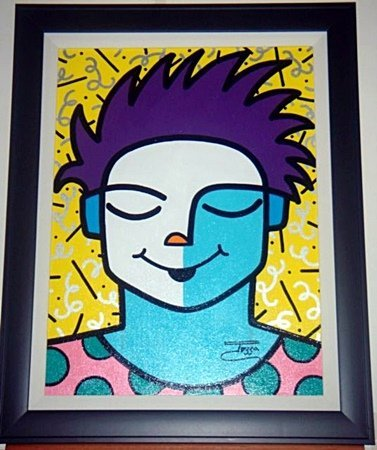 Jozza Framed Original Embellished Acrylic Canvas Cool