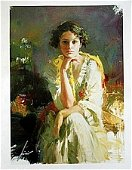 """PINO """"YELLOW SHAWL"""" LE HAND SIGNED/# Giclee on Canvas"""