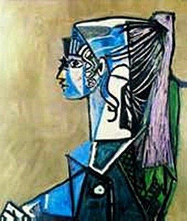 Portrait of Sylvette David in green armchair-