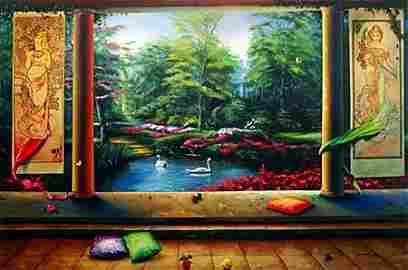 """Orlando Rafael Quevedo """"Paradise"""" Garden Scene Giclee"""