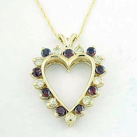 Very Fancy 10kt, Red & White Diamond Heart Pendant