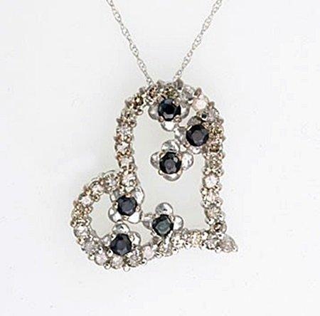 Elegant 10kt Diamond Sapphire Heart Pendant Necklace