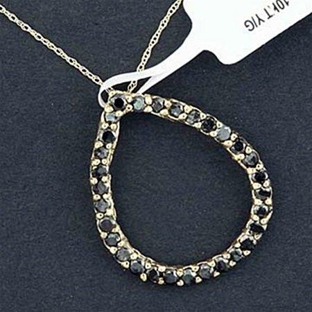 Very Beautiful 10kt Black Diamond Tear Drop Pendant