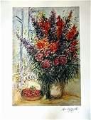 Marc Chagall BOWL OF CHERRIES Lithograph LE Facsimile