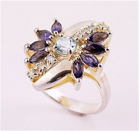 Beautiful Silver Blue Topaz and Iolite Ring.