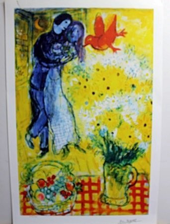 """""""Lovers"""" Lithograph by Marc Chagall"""