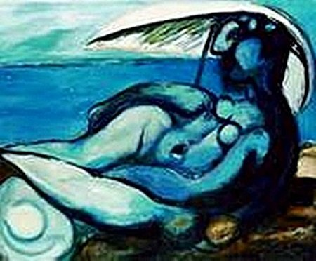 Reclining nude at beach-Collection Domaine Picasso