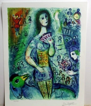 """""""Lady with Fan"""" Lithograph by Marc Chagall"""