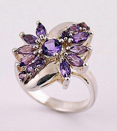 Very Fancy Silver Amethyst Ring. (SRI100295)