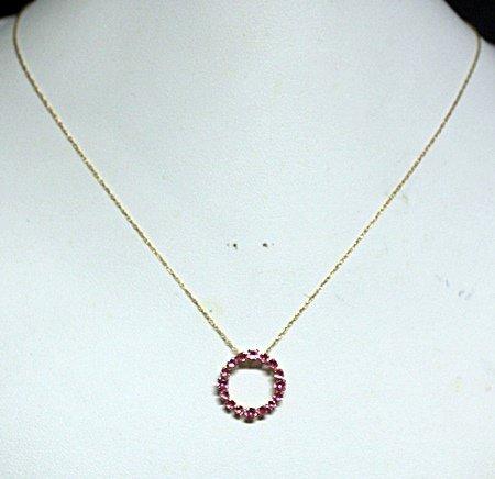 Lady's Fancy Pink Sapphire 10kt Necklace.