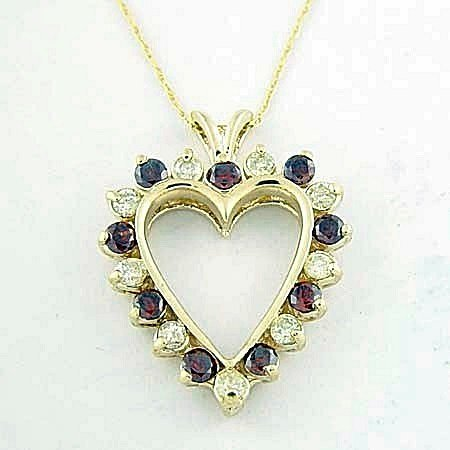 Very Fancy 10kt, Red & White Diamond Heart Pendant