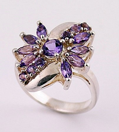 Very Fancy Silver Amethyst Ring. (SRI100295)