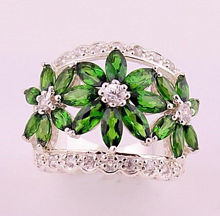 Very Fancy Silver Chrome Diopside & White Topaz Ring.