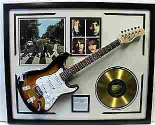 Beatles Autographed Guitar with Gold LP & Group
