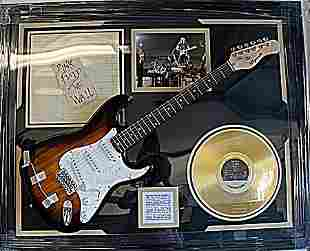Rare Pink Floyd Guitar Signed with The Wall Record And