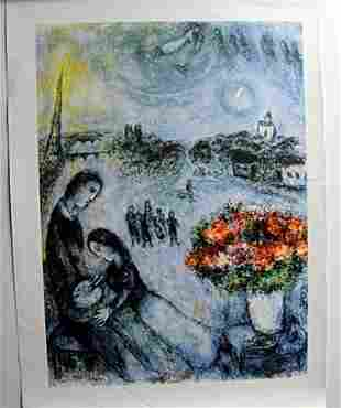 """""""Newlyweds"""" Lithograph by Marc Chagall"""