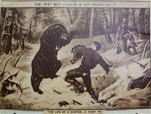 """""""The Life of a Hunter-A Tight Fix"""" Vintage Lithograph"""