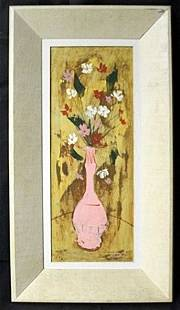 """Original Oil in Wood Panel """"Narrow Still Life With"""