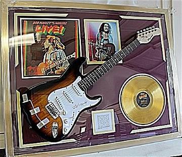 Bob Marley Signed Guitar with Bio, Photo and Album.