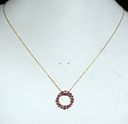 Lady's Fancy Pink Sapphire 10kt Necklace.