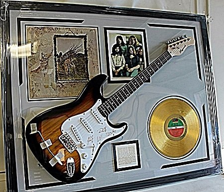 Led Zeppelin Autographed Guitar with Bio, Album,