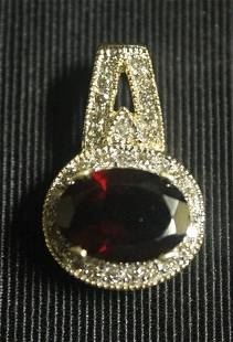 Fancy 10 kt Yellow Gold Pigeon Blood Ruby with Diamonds