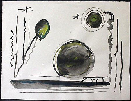Original Watercolor on Paper By Joan Miro