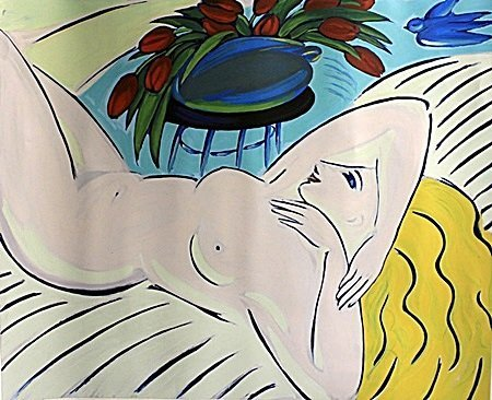 """Serigraph """"Exposed with Flowers"""" By Leela Woros"""