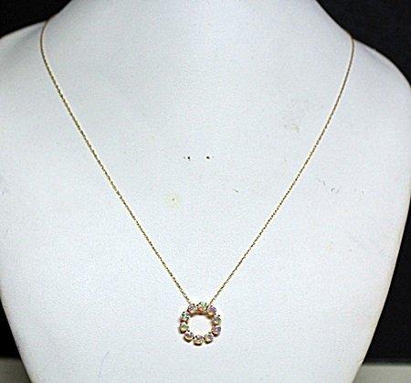 Lady's Fancy Fire Opal 10kt Necklace.