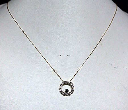 Lady's Fancy White & Blue Sapphire 10kt Necklace.