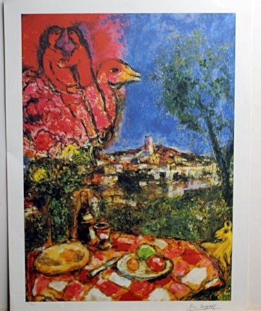 """Breakfast"" Lithograph by Marc Chagall Lithograph"