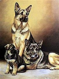 """""""Generations, German Sheperds"""" Lithograph By Nigel H."""