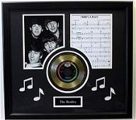 """""""There's A Place"""" Beatles Music Sheet & Gold Record -"""