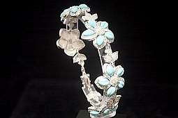 Gorgeous White Sapphire & Topaz Silver Bracelet (23B)