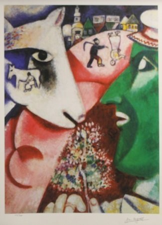 """Lithograph """"I and the Village"""" After  Marc Chagall"""