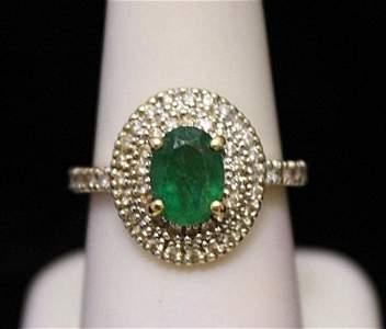 Very Fancy 14kt Gold Columbian Emerald & Diamonds Ring