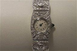 Elegant Antique 18kt White Gold Diamonds Watch (18W)