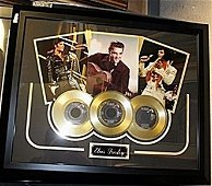 Portrait Of Elvis Presley  with 3 Gold Albums