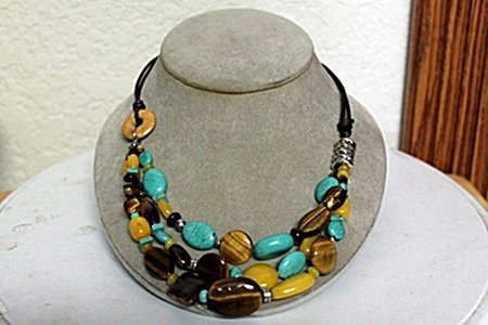 TIGER EYE AND TURQUOISE NECKLACE