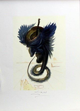 """Lithograph """"The Black Cherub"""" After  Salvador Dali (5E)"""