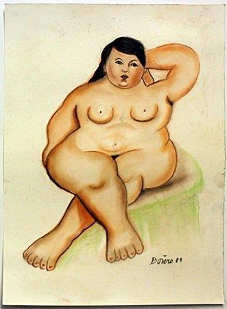"""Pastel """"Nude Maria"""" by Fernando Botero"""