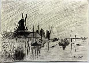 Pastel Drawing on Paper by Claude Monet
