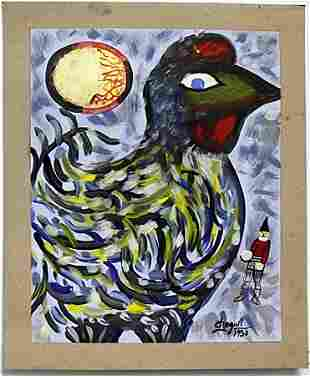 Oil Painting on Paper by Marc Chagall