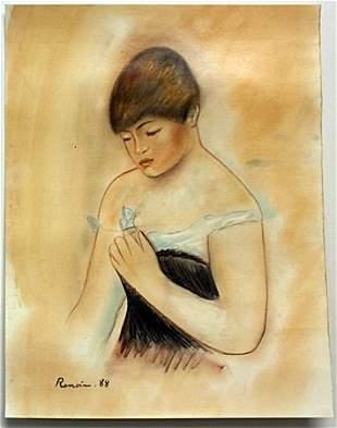 Pastel Drawing on Paper by Pierre Auguste Renoir