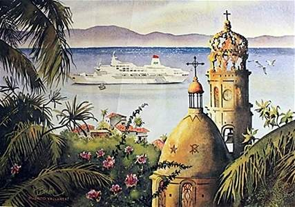 """""""Puerto Vallarta"""" Lithograph By W. Bender"""