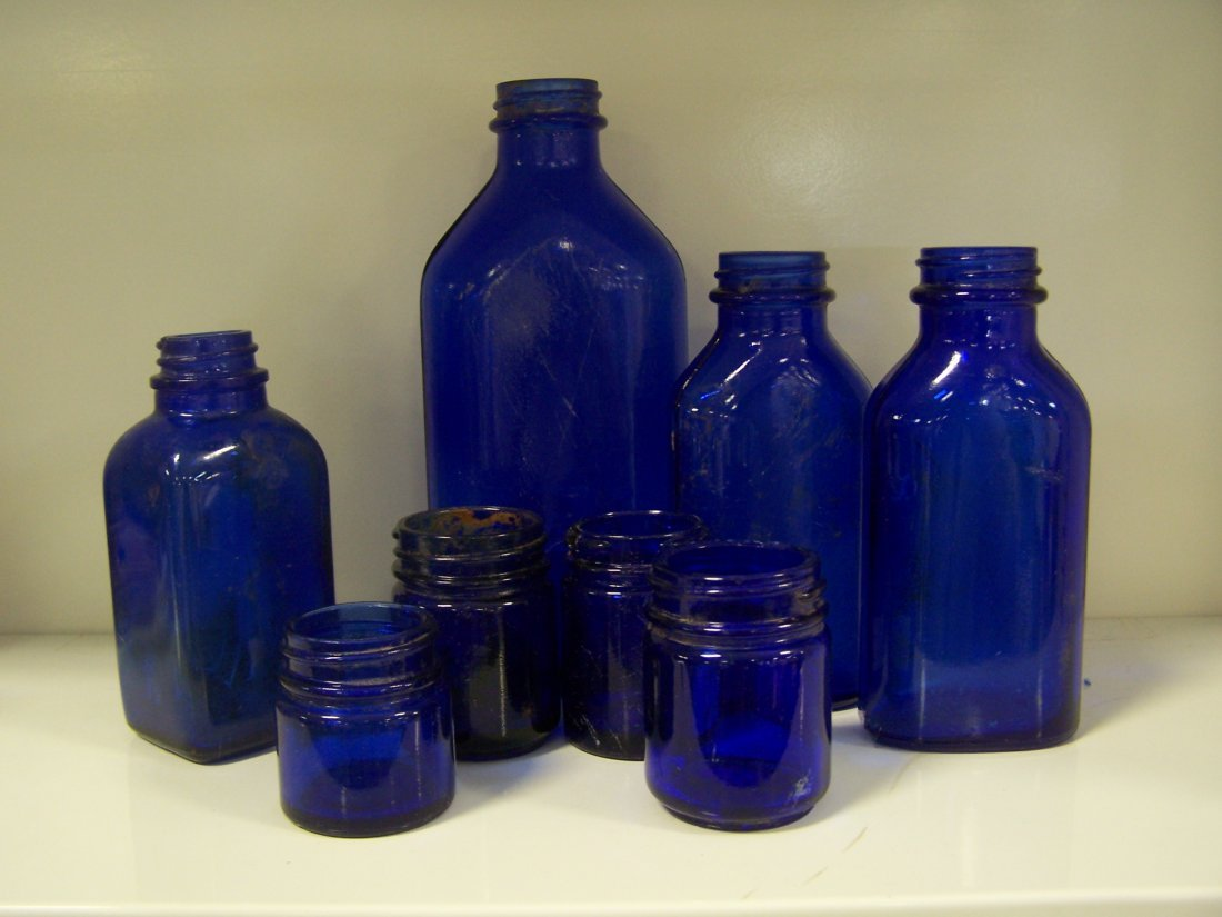 Lot of 8 Vintage Cobalt Blue Glass Bottles