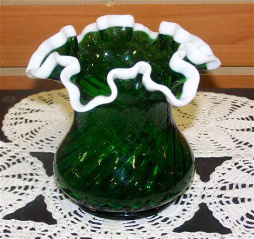 Fenton Green Ruffle Vase With Milk Glass Ruffle Rim