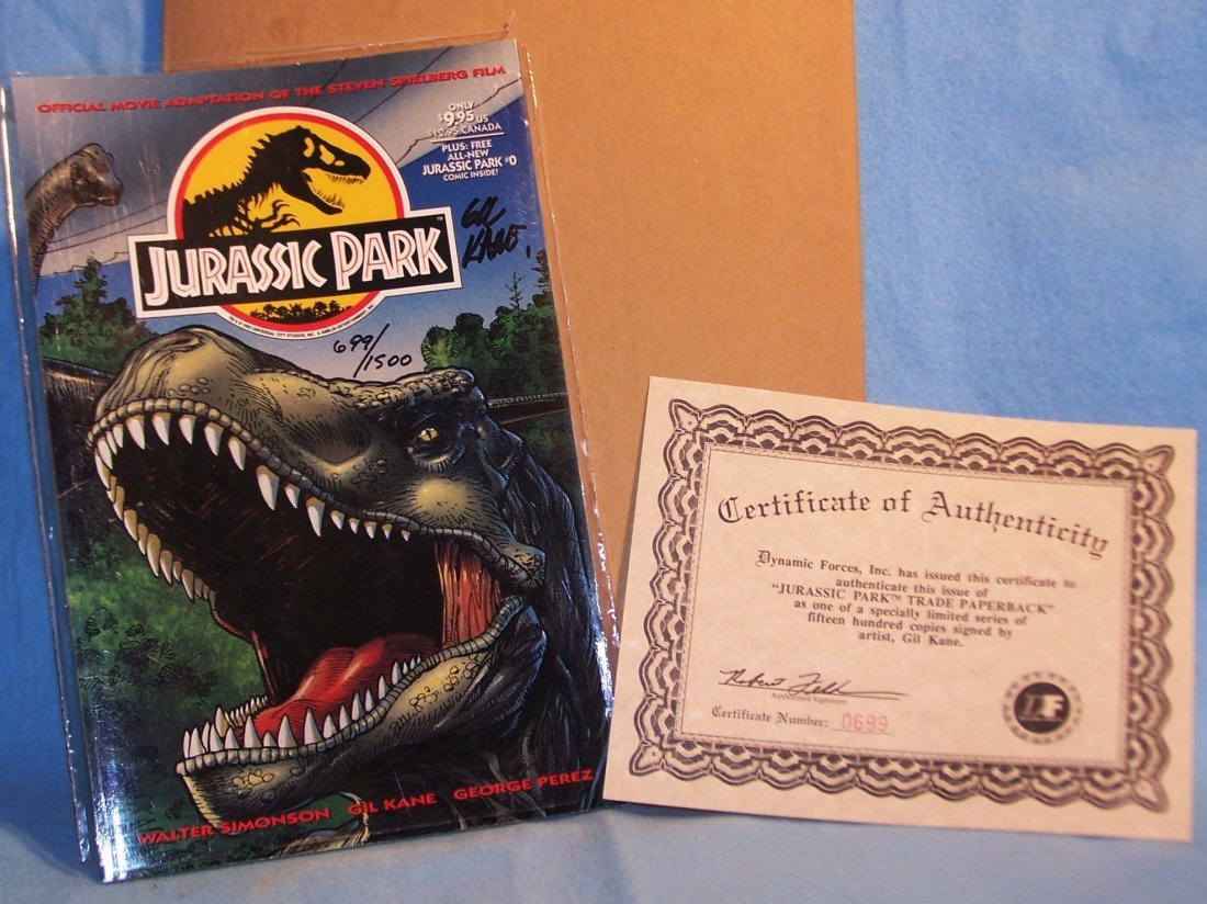 Autographed Limited Edition Jurassic Park Tops Comic